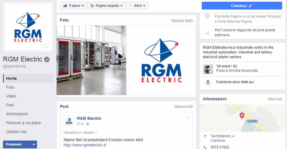 RGM Elettrotecnica Industriale - Gestione profilo Facebook e Linkedin