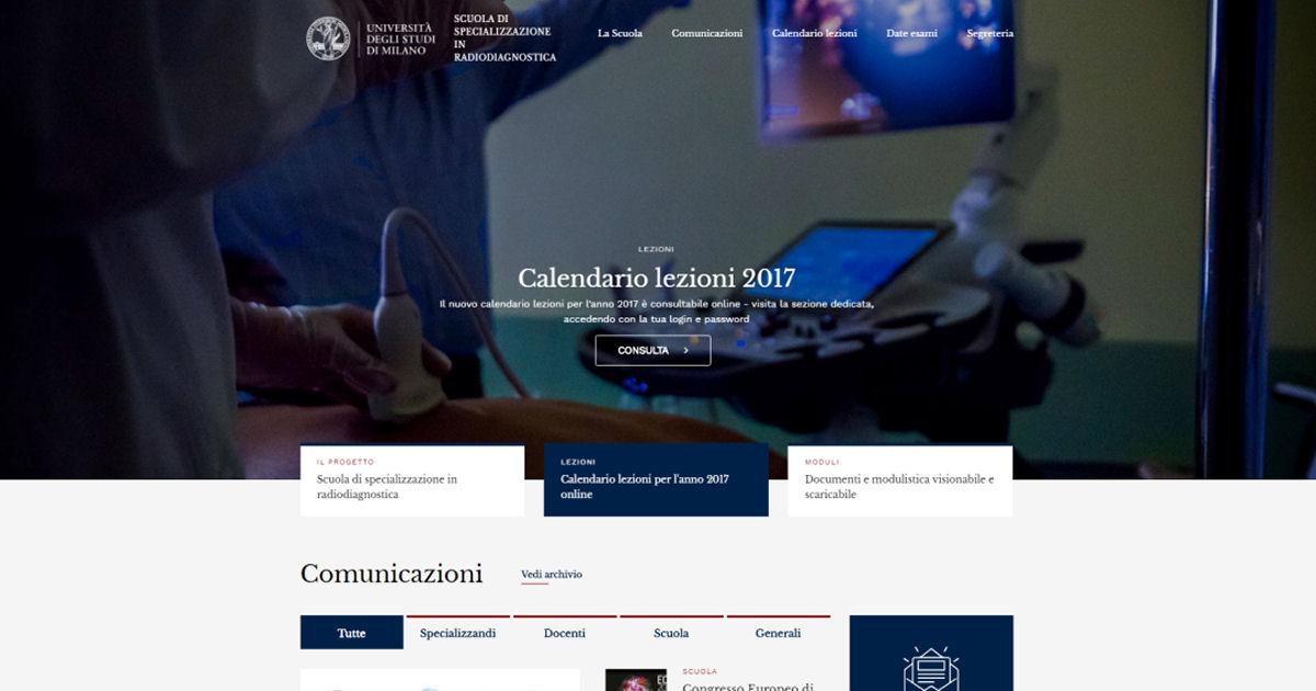 Università degli Studi di Milano - Sviluppo sito web per la Scuola di Specializzazione in Radiodiagnostica