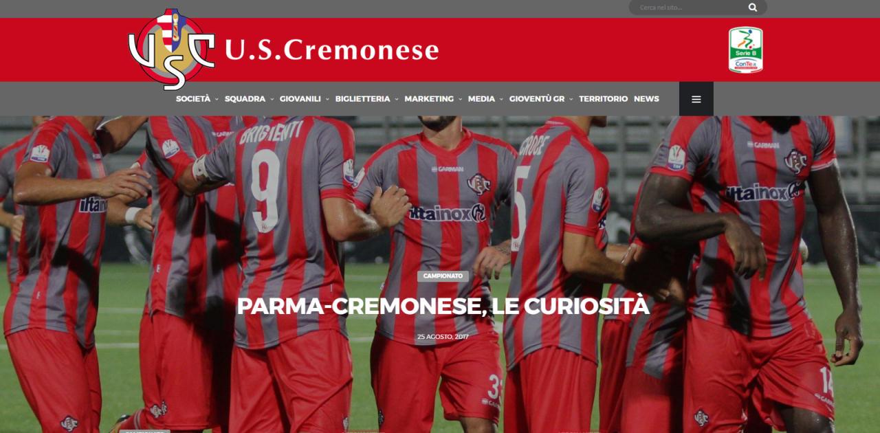 U.S. Cremonese - Realizzazione sito web